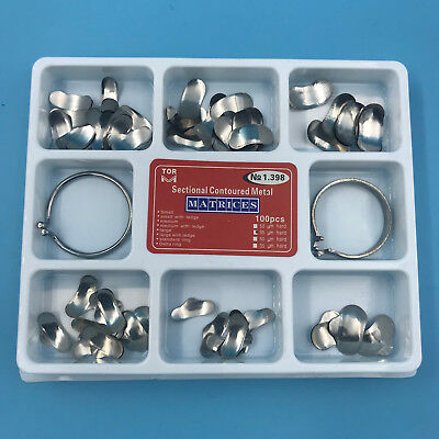 100 Pcs Dental Matrix Sectional Contoured Metal Matrices No.1.398lmws 35um Hard