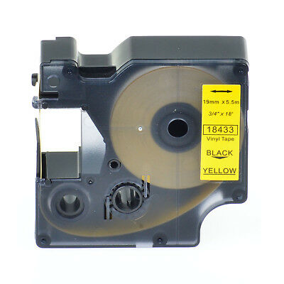 "1PK 18433 Black on Yellow Vinyl Label 3/4"" for DYMO RHINO 4200 5200 6000 Printer"