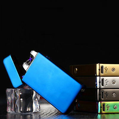 Electric Lighter Dual Cigarette Plasma Rechargeable Windproof Flameless USB DN55