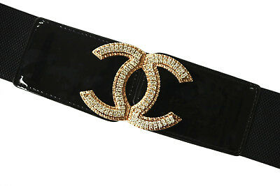 Fashion Ladies Wide Elastic Stretches Waist Belt Gold Diamante Buckle 4 colors