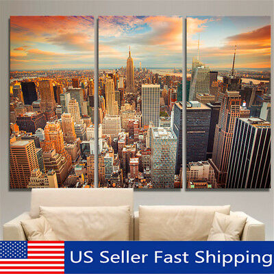 Modern unframed new york skyline painting picture oil canvas wall home decor