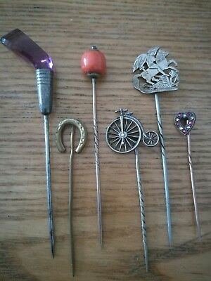 Job Lot Of Antique / Vintage Stick Pins Including Silver, Coral