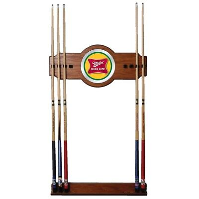 "Cue Rack Trademark Billiard Miller High Life 8 Cue 2 Piece Oak Wood 10"" diameter"