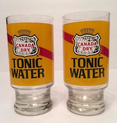 "Canada Dry Tonic Water 5.5"" Tall Glasses - Set 2 - Holds 12 Ounces Vintage HTF"