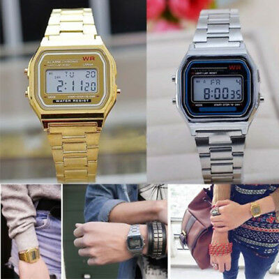 Fashion Retro Unisex Women Men Stainless Steel Digital Led Display Wrist Watch