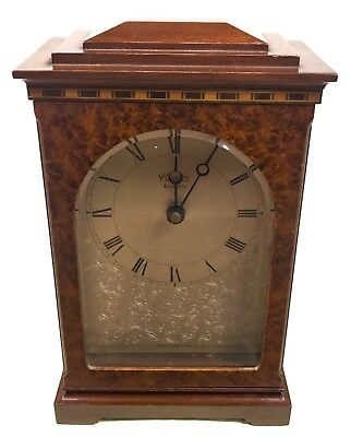 Mahogany And Burr Elm Battery Powered Bracket Mantel Clock : COMITTI of London