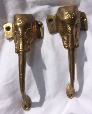 Pair Of Brass Elephant Head Door Handles Decor Art
