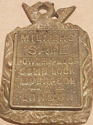 Vintage Milner safe key cover escutcheon original brass lock plate