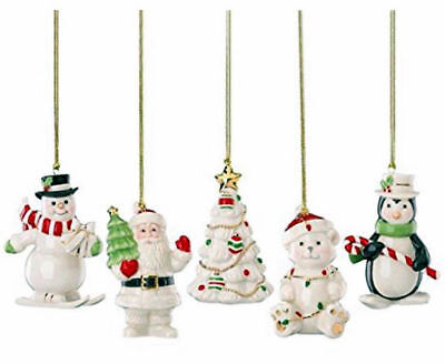 Lenox Very Merry Christmas Xmas Porcelain Ornaments Set of 5 PC New in Box