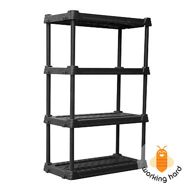 PLASTIC STORAGE SHELVES 4 Tier Freestanding Shelving Unit Garage Shelf Organizer