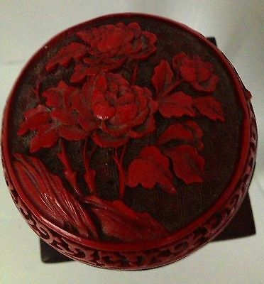 Antique Vintage Chinese Carved Peonies Round Cinnabar Lacquer Trinket Box w/Base