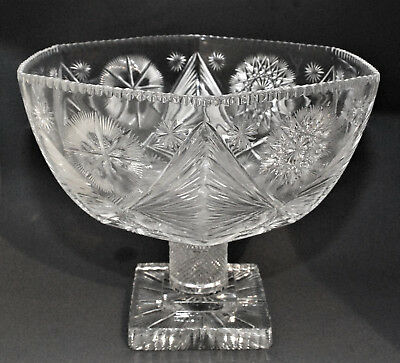 Huge Antique American Brilliant Cut Glass Signed Pedestal Punch Bowl Compote