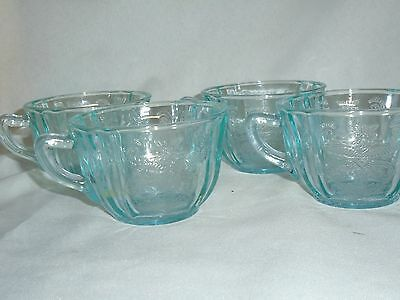 Vtg Recollection Indiana Glass Green (Teal) Madrid Flat Cups Set Of 4