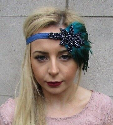 Teal Navy Blue Green Feather Headpiece 1920s Headband Flapper Great Gatsby 4955