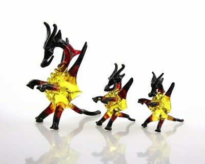 3 piece glass dragon set crystal figurine blown glass art red yellow black