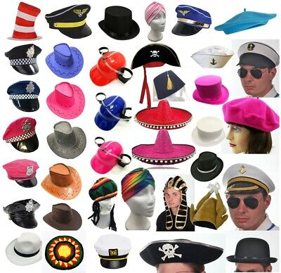 Fancy Dress Hats Cowboy Pirate Police Gangster Top Hat Bowler Graduation Lot