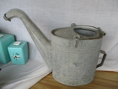 Vintage Large Galvanized Watering Can Garden GOOSE NECK * very long spout
