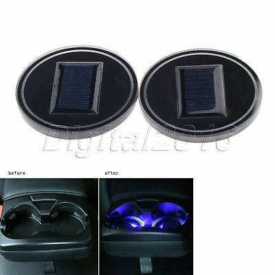 2Pcs Car Cup Holder Pad Mat LED Light Atmosphere Lamp Cover Trim Solar Charge