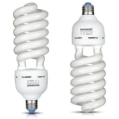 2x 65W 220V 5500K Tri-phosphor Spiral CFL Daylight Balanced Light Bulb E27 Video