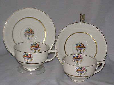 Tea for 2 Vintage Cup and Saucers England WW Grindley Bowl of Floral with 22 Gol