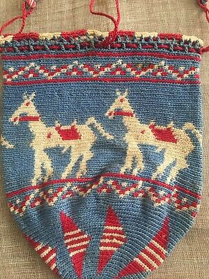 Rare Antique Ottoman-Turkish Hand Knitted Purse With Horse Motif