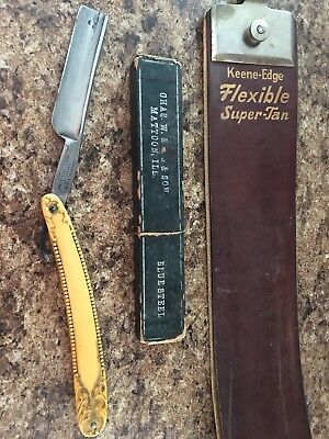 Antique  - German Imperial Straight Razor & Dual Leather Razor Strap
