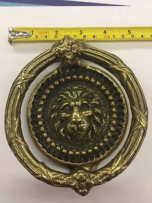 Vintage Solid Brass Lion Head Door Knocker. Good condition
