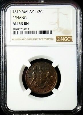 Malay Penang 1810 Cent *NGC AU-53* Very RARE Malaysia Singapore Only 14 Known