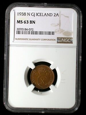 Iceland 1938 2 Aurar *NGC MS-63* Only 8 Known *Tops Pops* NONE Graded Higher