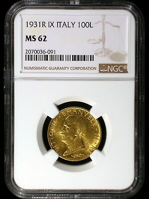 Italy Empire 1931 R IX Gold 100 Lira *NGC MS-62* Fascist Italy Rare 3 Year Type