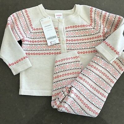 Gymboree Infant Girls Fair Isle Striped Two Piece Sweater Leggings Size 6-12 Mo