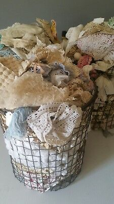 Huge Lot Of Victorian And Vintage Lace, Trim, And crochet- over 12lbs various