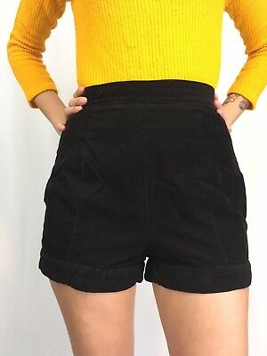Vintage 50s 60s Womens Black Corduroy High Waist Side Zip Hot Shorts Pin Up S