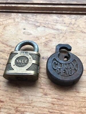 Antique Climax 6 Lever Padlock  Cast Iron  No Key Yale Brass Marked US No Key