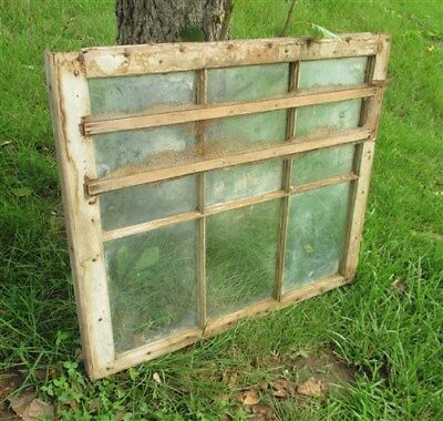 Old Wood Window Frame 6 Glass Panes Rustic Shabby Chic Cottage Decor 31.75x27nn