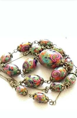 Reduced!! Vintage Art Deco Czech  Multicolor Glass,pink Roses Wire Necklace.