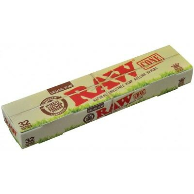 RAW Organic King Size Pre-Rolled Cones, Unrefined Natural 32 Pack / 1 Box