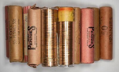 MIXED 60's LINCOLN CENT 1C RETIRED DEALER STOCK UNSEARCHED GEM BU RED 17 ROLLS