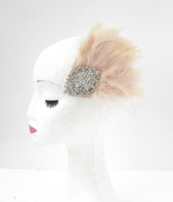 Beige Silver Diamante Feather Fascinator Hair Clip Races Headpiece Vintage 4961