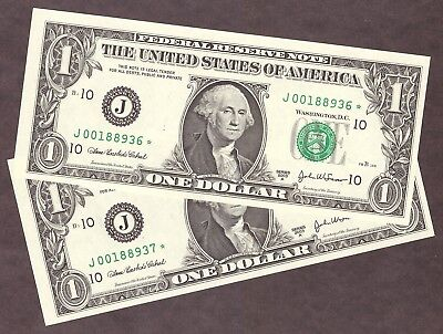 ( 2 ) 2003A $1 Frn **star** Notes - Kansas City District - Consec Numbers - Unc