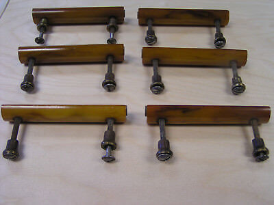 Six Beautiful Antique Bakelite & Brass Drawer Pulls