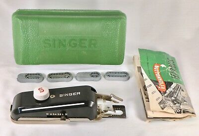Vintage Singer Brand Button Holer w/ Green Case, Manual, & Accessories