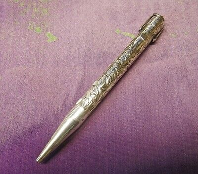 Antique Sterling Silver Mabie Todd Fyne Poynt Hand Engraved Pencil with Stirrup,