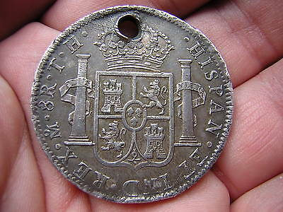 Rare Antique 1805-Mo TH Mexico 8 Reales Large Silver Coin Pendant or Watch Fob