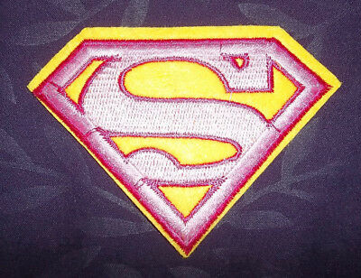 SuperGirl Superman S Pink Logo Super Hero iron-on Embroidered Patch Costume