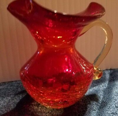 """Crackle glass pitcher amberina - yellow to red - wide mouth 5"""""""