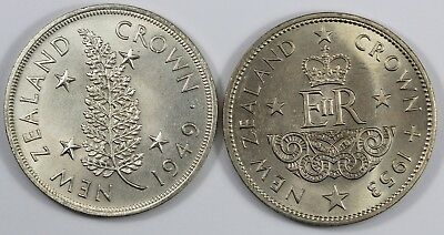 New Zealand 1949 & 1953 Crowns, both Uncirculated