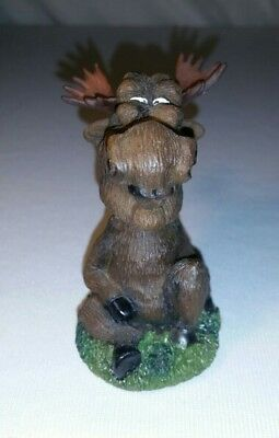 Cute Whimsical Small Brown Moose Booblehead Home Office Desk Decor