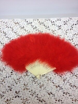 Antique Vintage Celluloid Ornate Folding Hand Fan~Fancy Feathers~Valentine Red