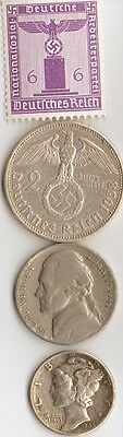 *free -*WW2 us NICKEL + WWII- *german SILVER  EAGLE coin /stamp